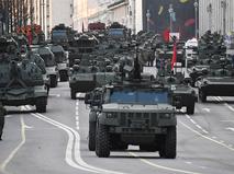 Репетиция военного парада, посвящённого 76-й годовщине Победы