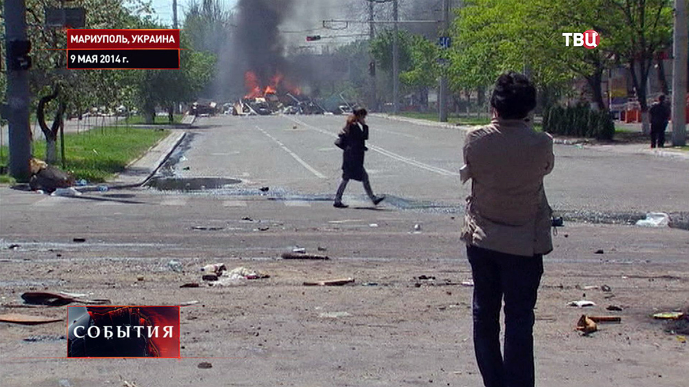 Горящая баррикада в Мариуполе