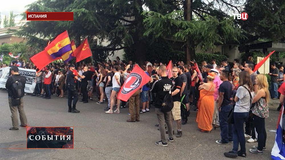 Митинг в Испании против фашизма на Украине