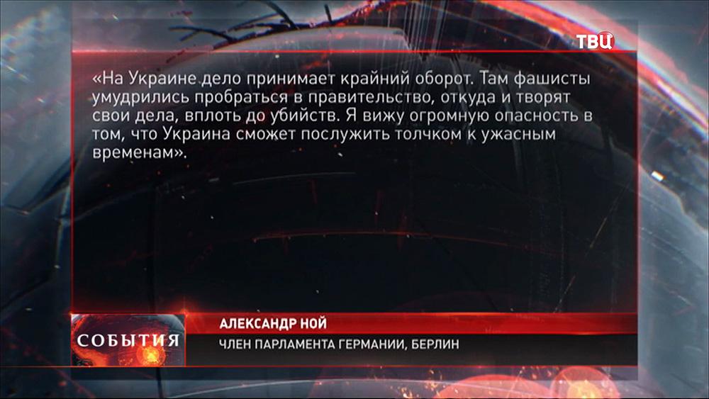 Цитата из речи члена парламента Германии, Александра Нойя