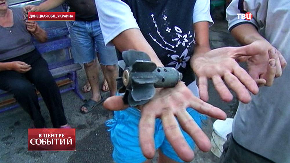 Последствия минометного обстрела в Донецкой области