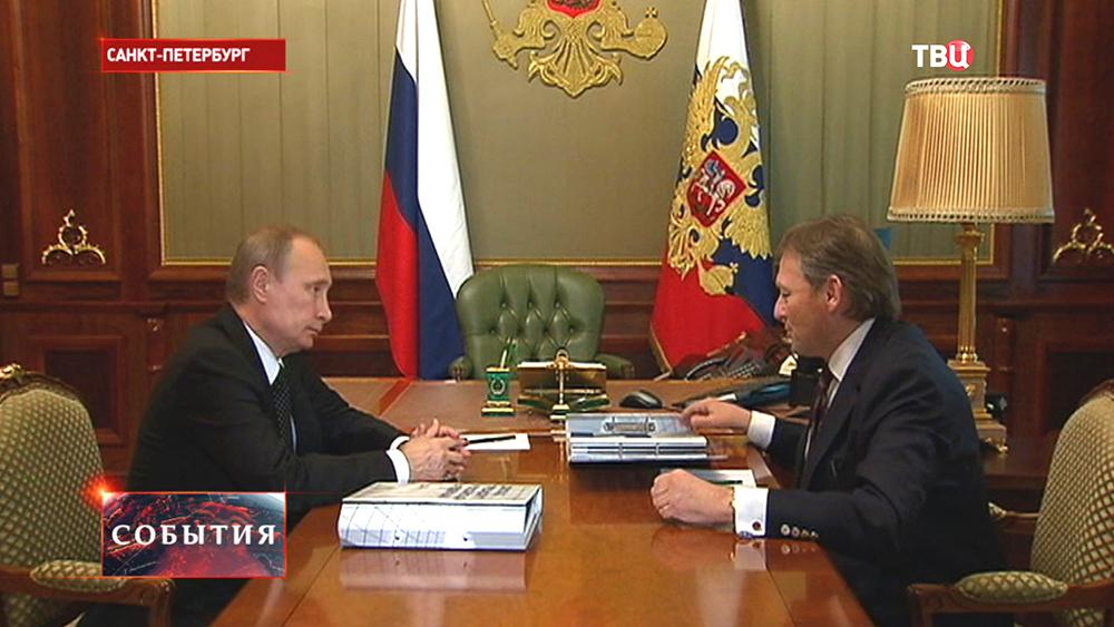 Президент России Владимир Путин и уполномоченный по правам предпринимателей Борис Титов