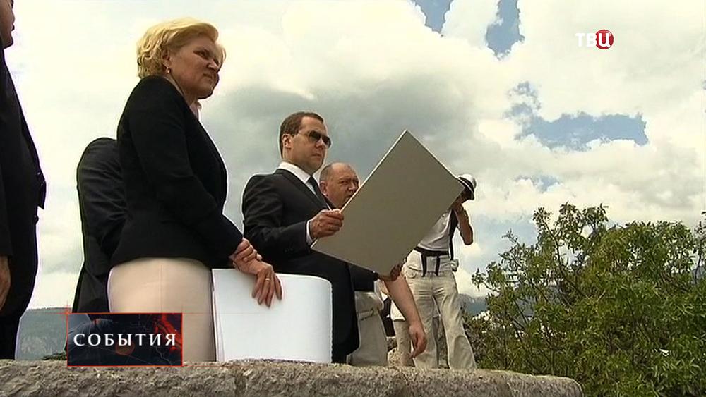 Председатель Правительства РФ Дмитрий Медведев и заместитель Председателя Правительства РФ Ольга Голодец