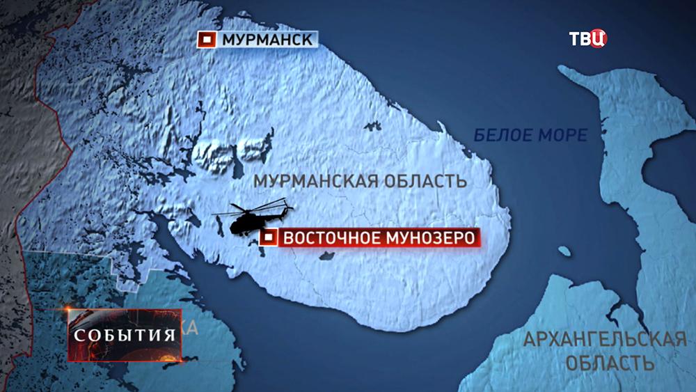 Инфографика места крушения вертолета в Мурманской области