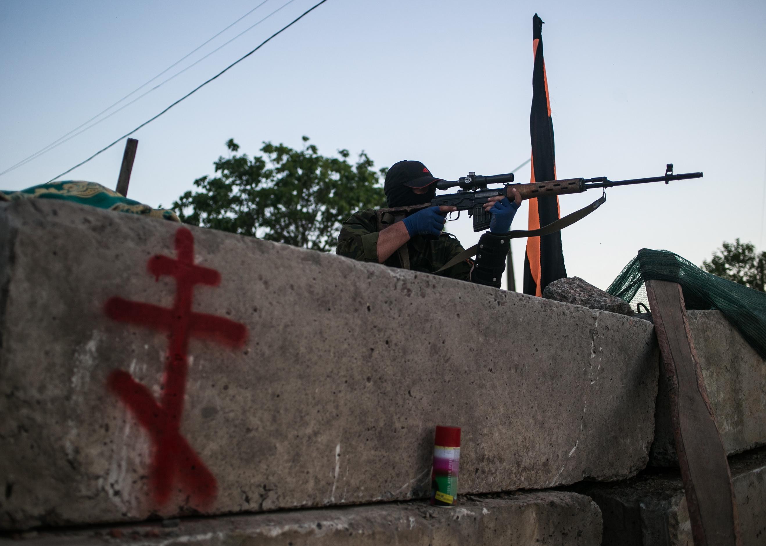 Блокпост ополченцев в Донецкой области