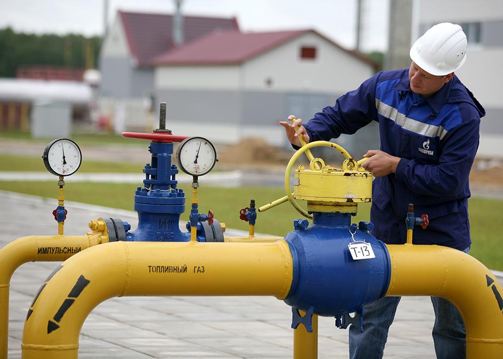 Вентиль на газовом хранилище компании «Газпром»