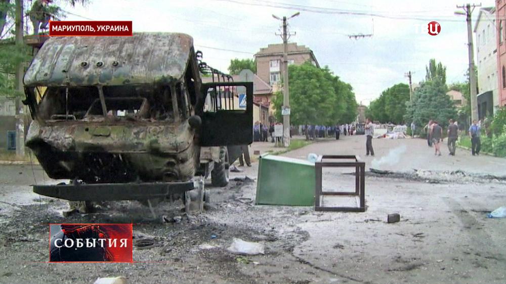 Последствия уличных боёв в Мариуполе