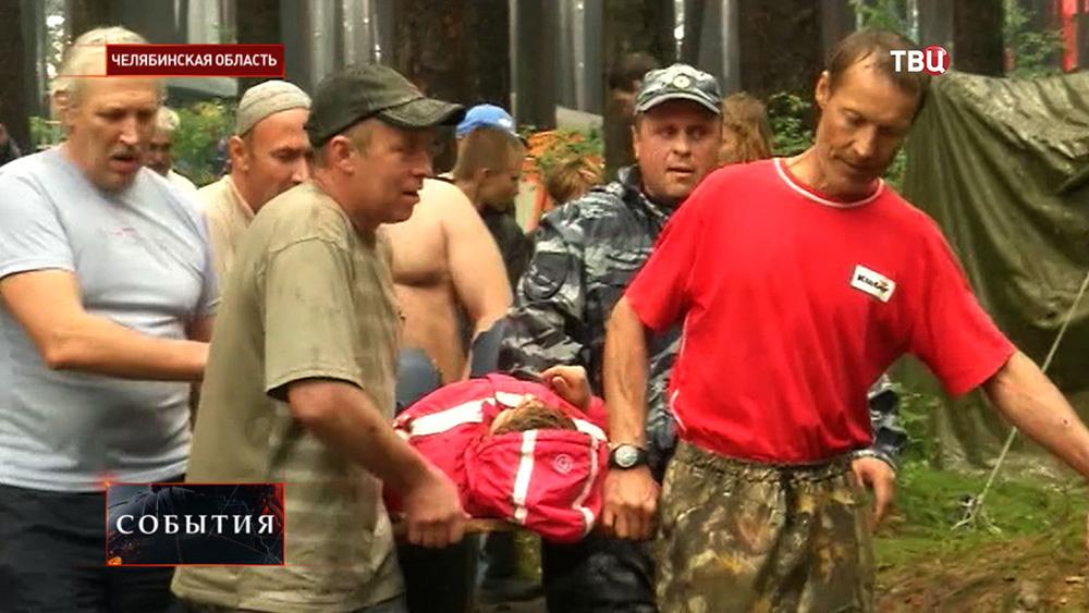 Эвакуация пострадавших от урагана в Челябинской области