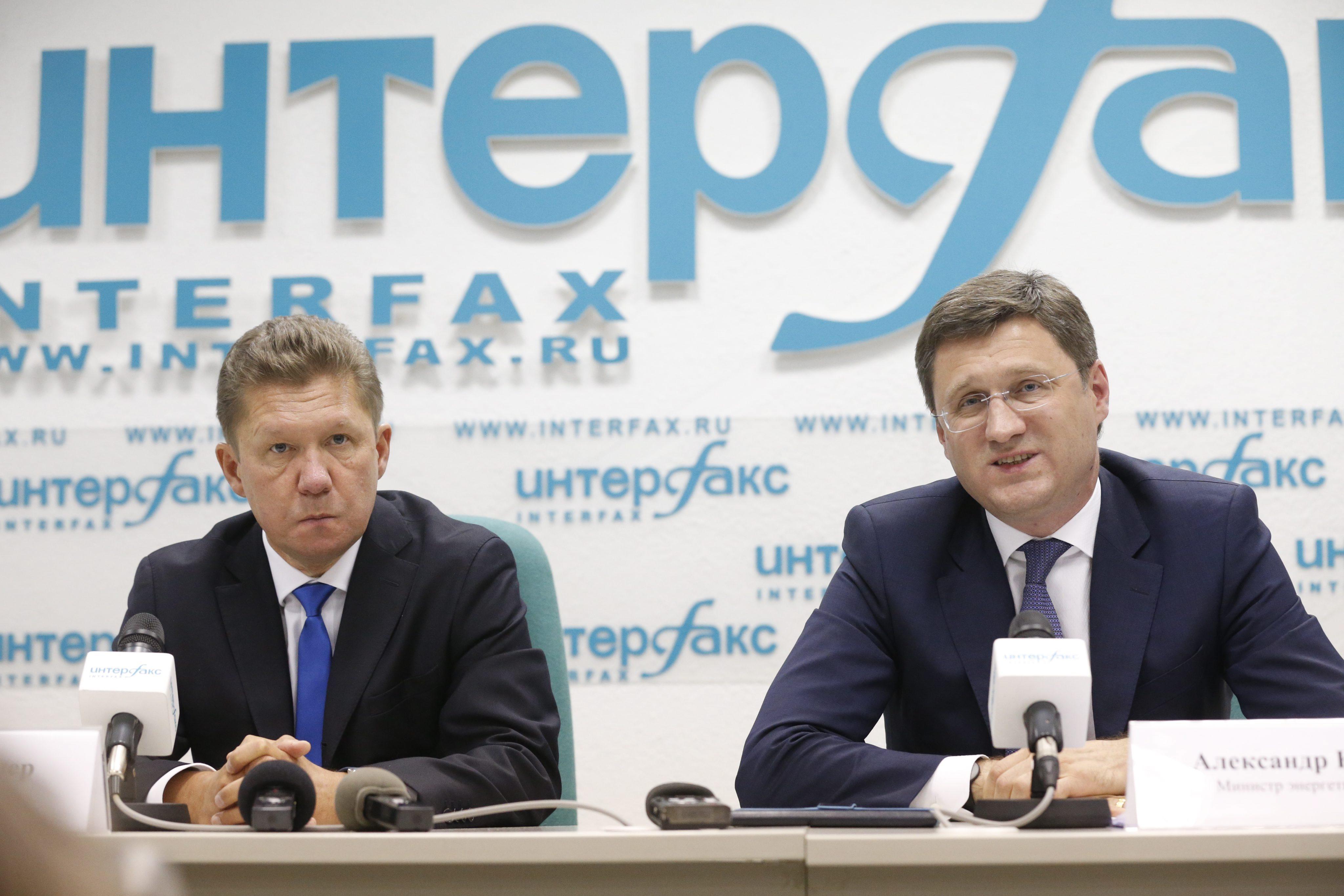Алексей Миллер и  Александр Новак во время пресс-конференции