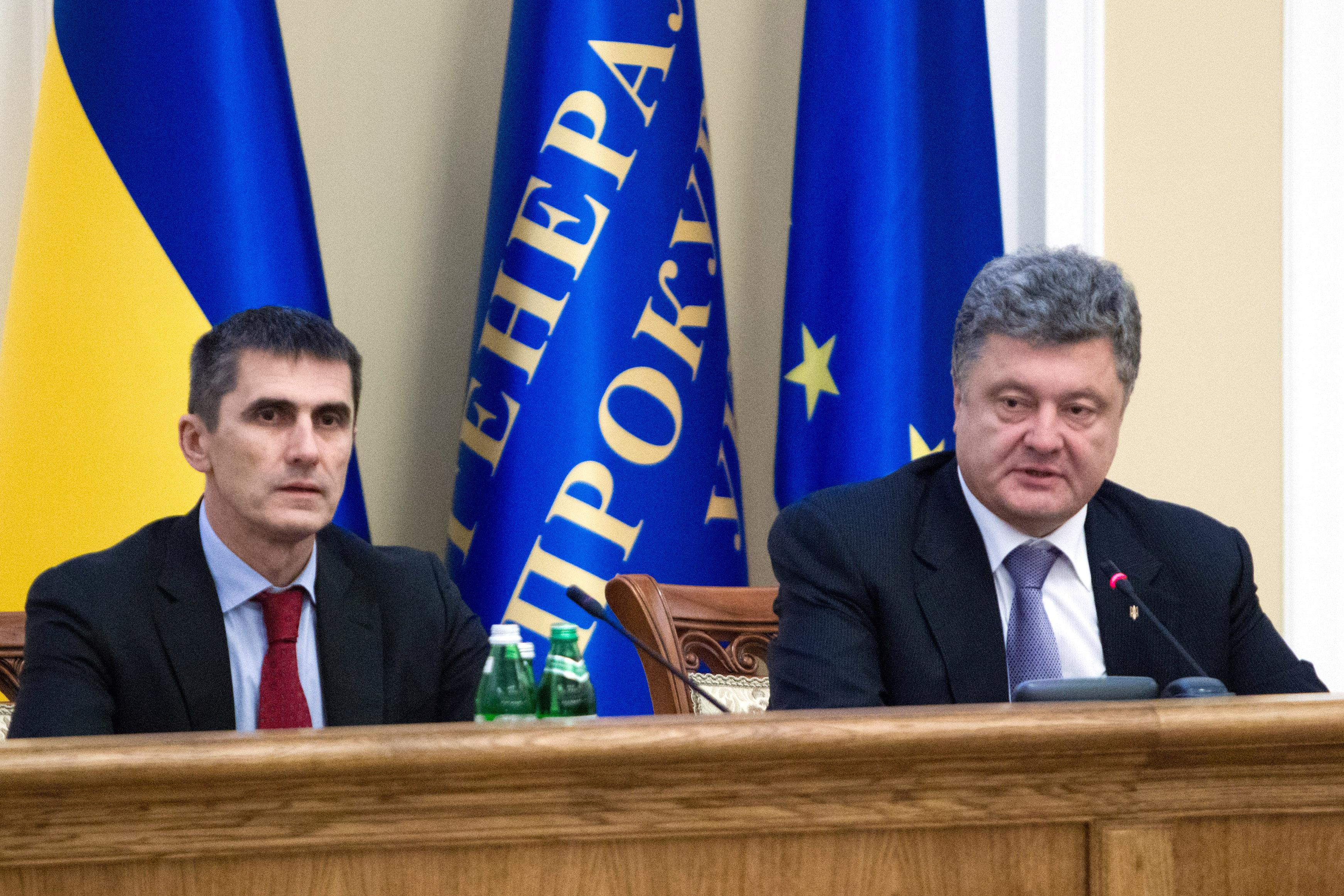 Новый генеральный прокурор Украины Виталий Ярема и президент Украины Петр Порошенко