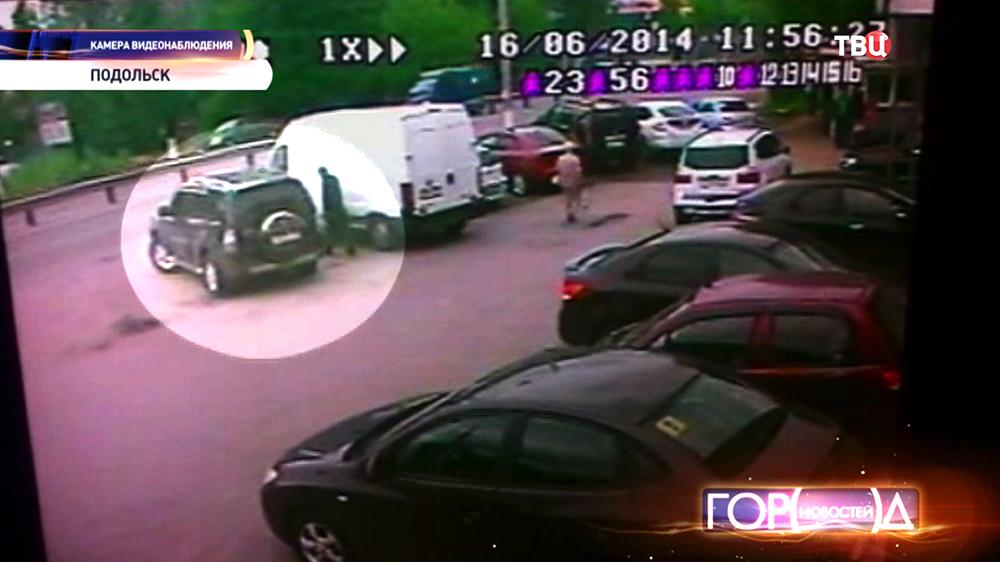 Момент ограблении автомобиля борсеточниками