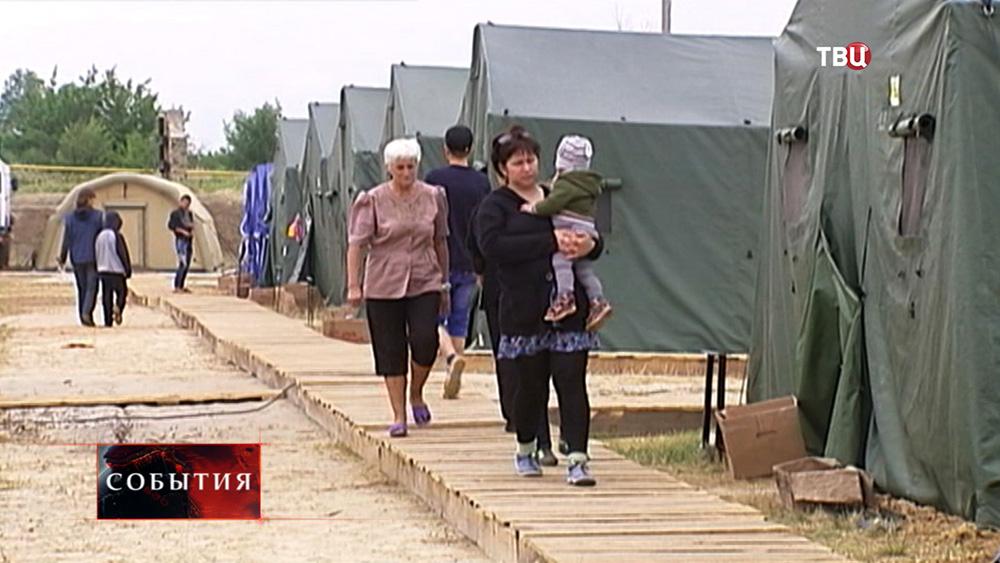 Палаточный пункт размещения беженцев с Украины