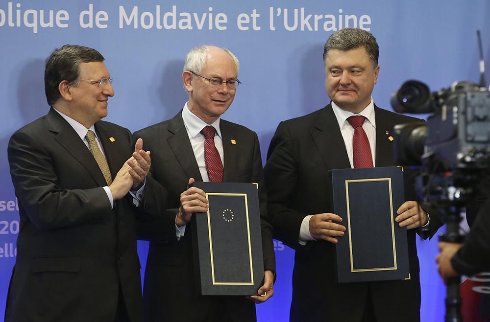 Жозе Мануэл Баррозу, Херман Ван Ромпей и Петр Порошенко