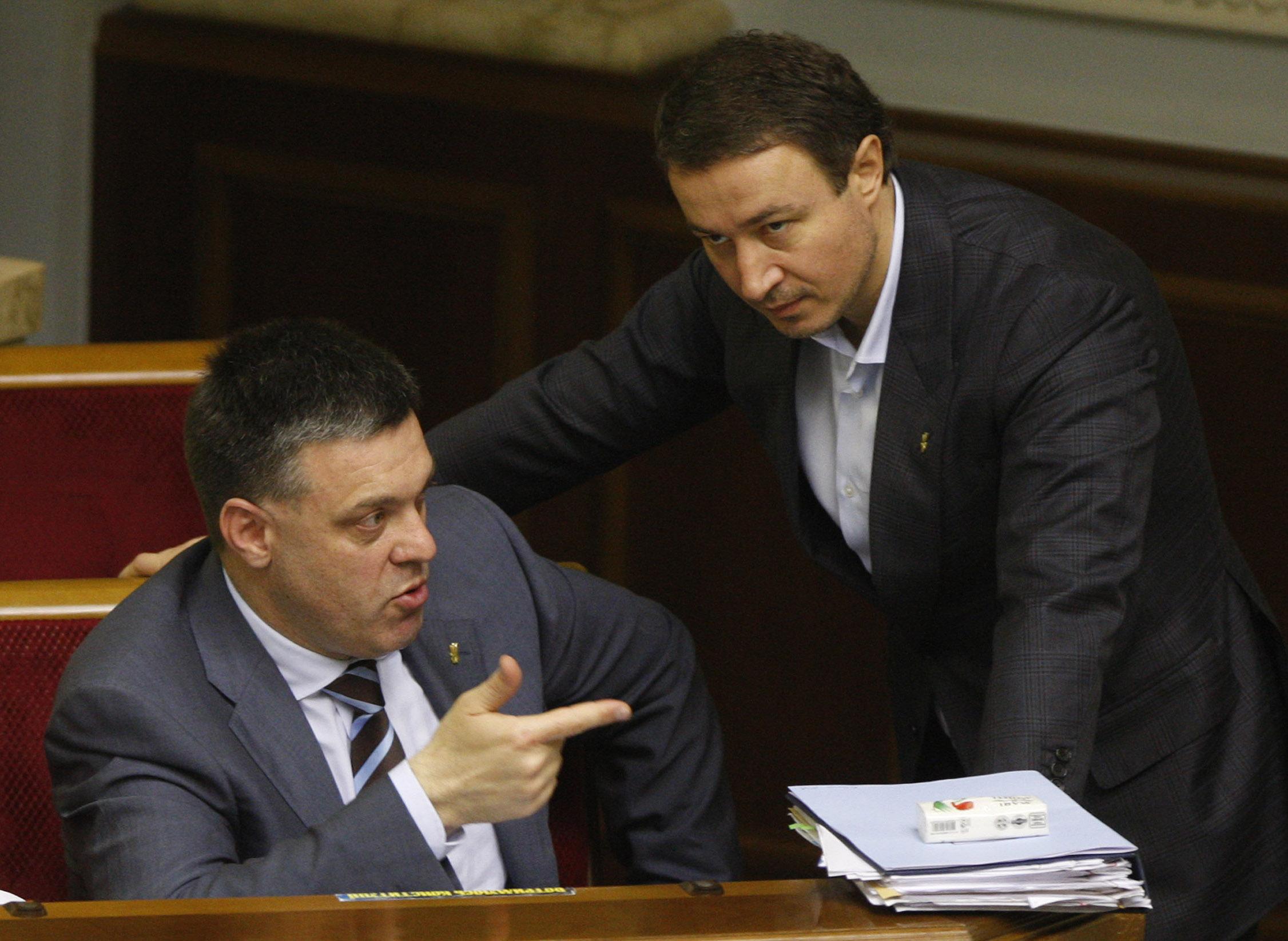 "Лидер партии ""Свобода"" Олег Тягнибок во время заседания парламента"