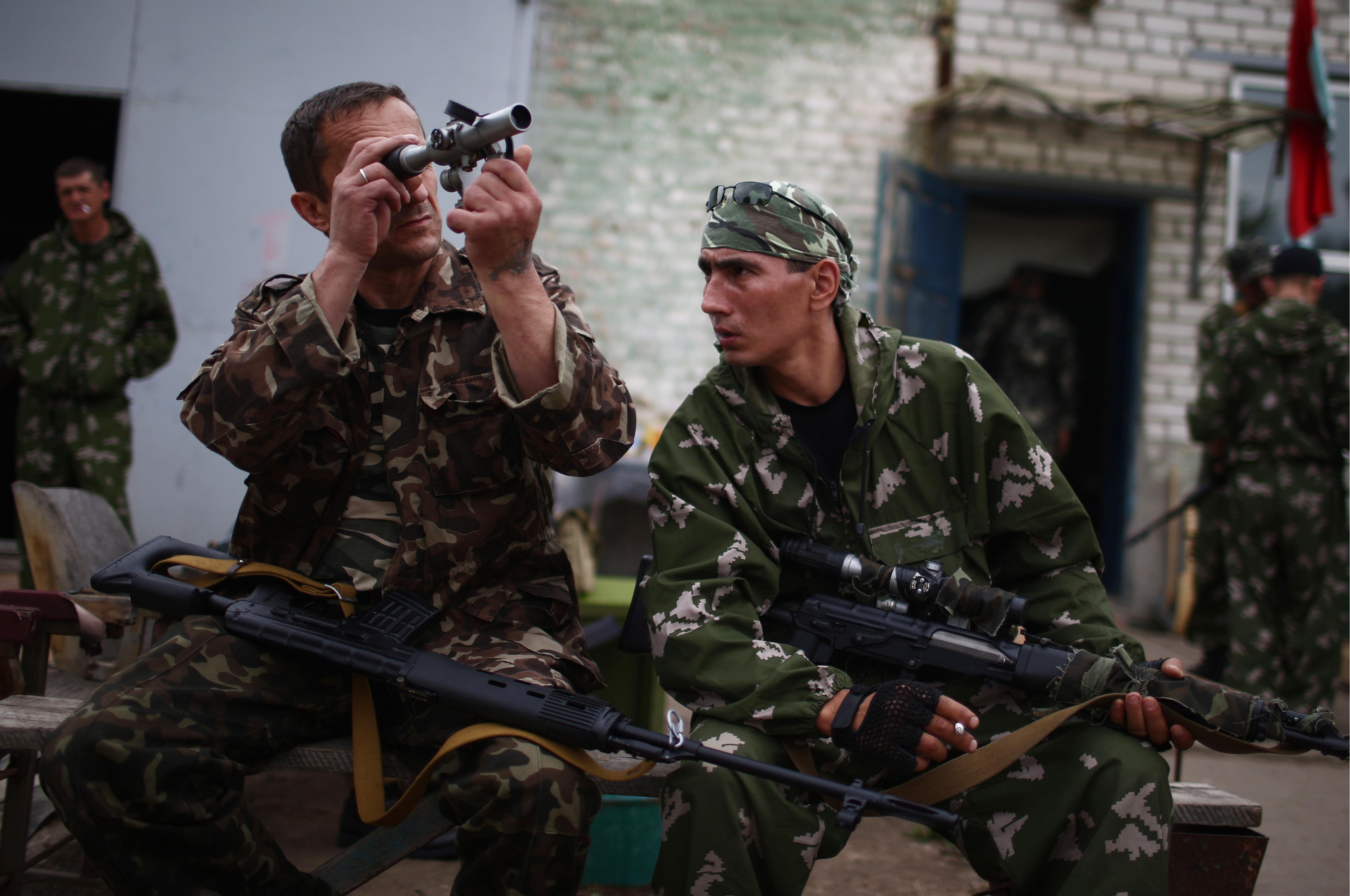 Отряд ополченцев в Луганской области