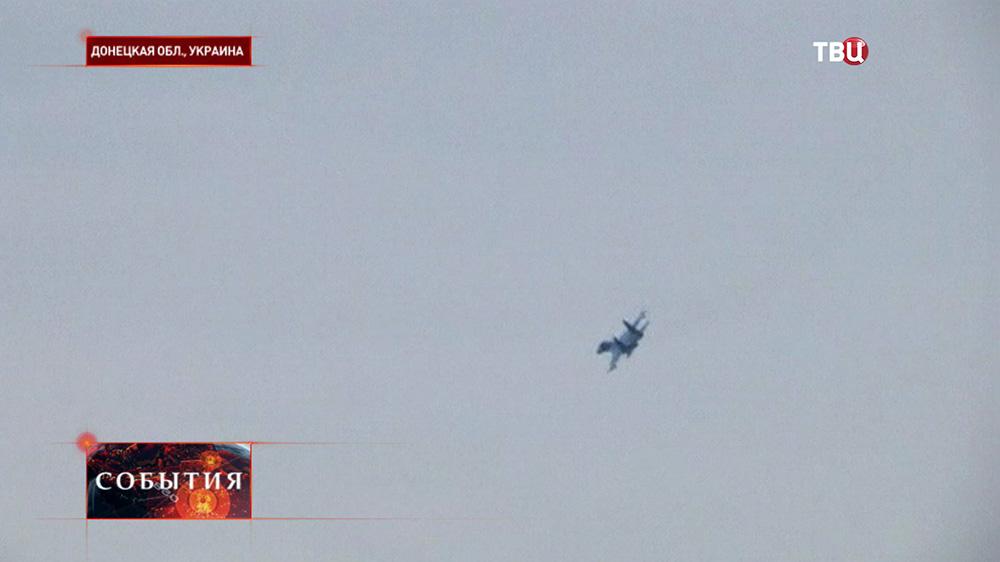 Истребитель ВВС Украины над Донецкой областью