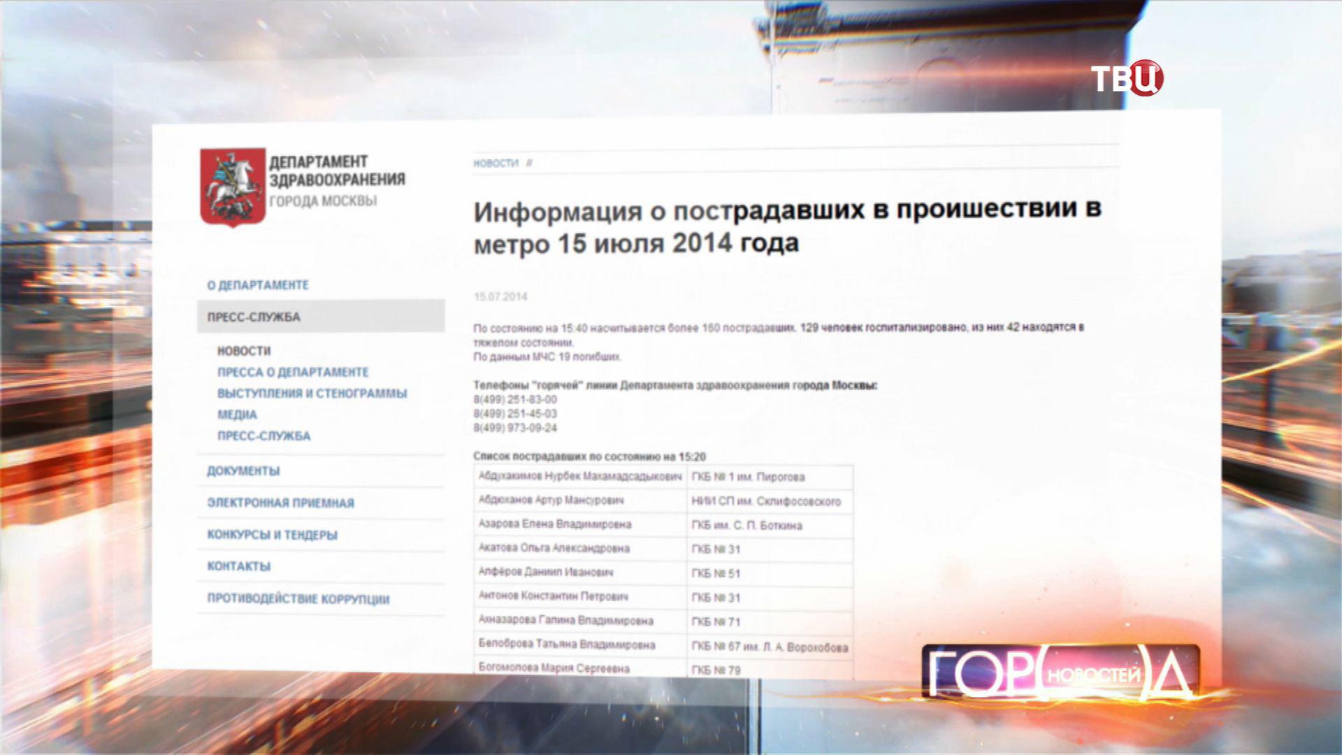 Информация о пострадавших на портале Департамента здравоохранения города Москвы
