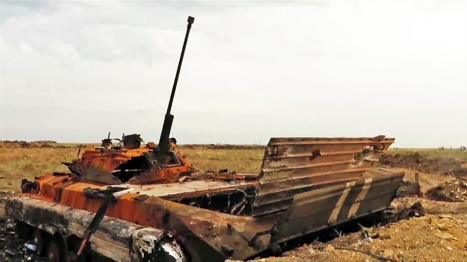 Сгоревший БМП украинской армии
