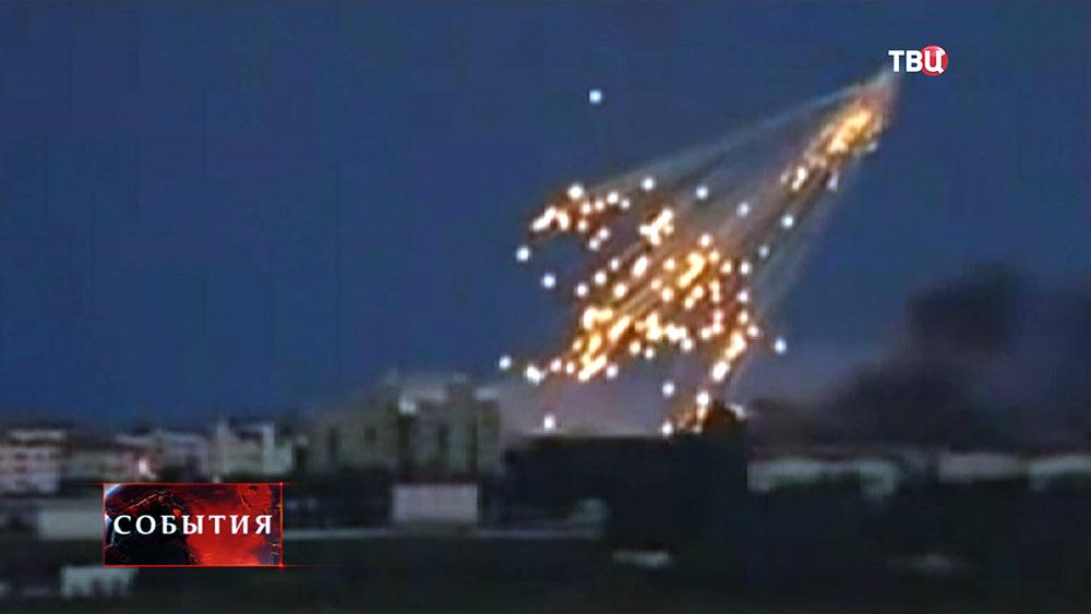 Последствия обстрела фосфорными бомбами Нацгвардией Украины жилого сектора