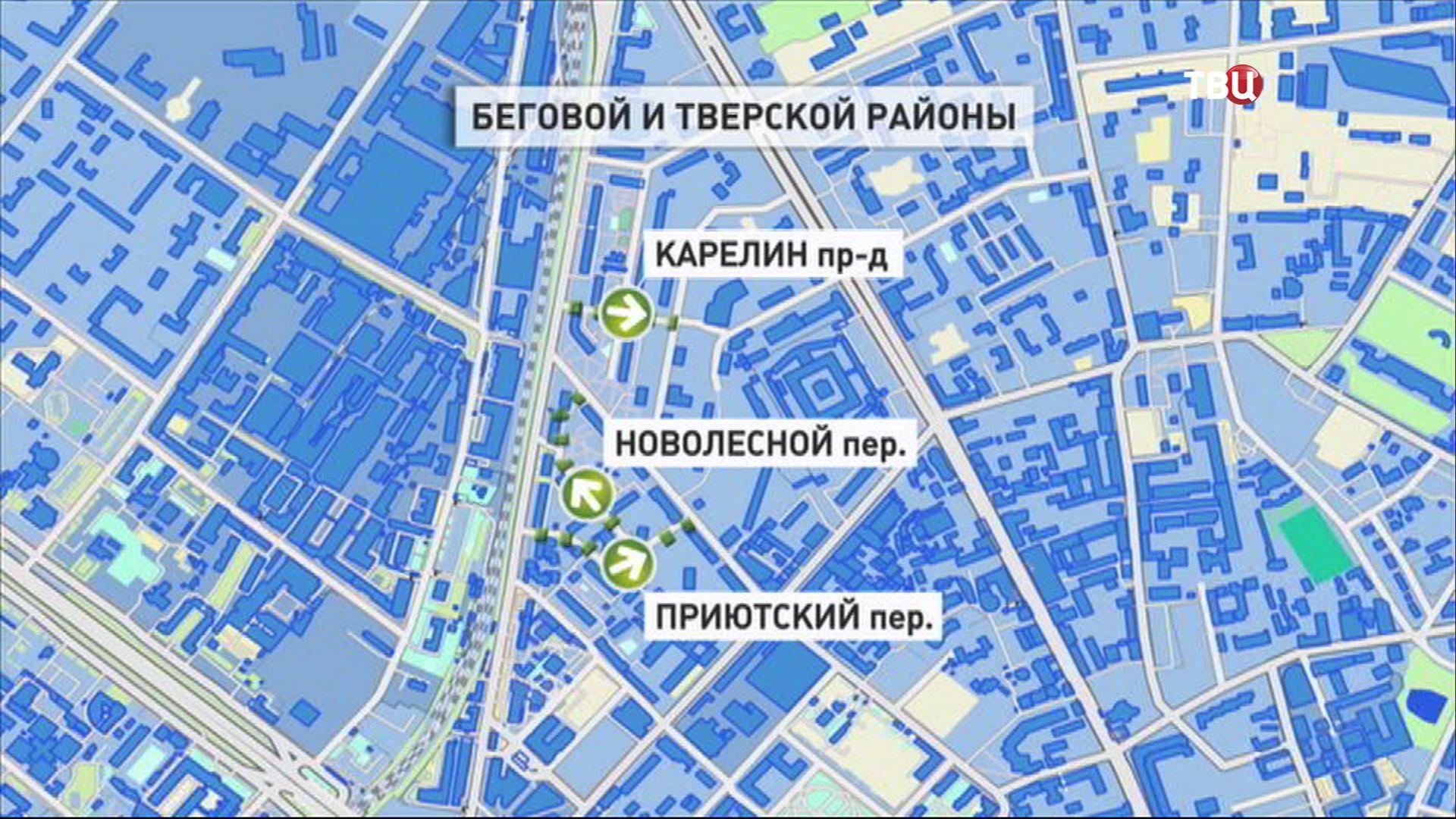 Карта Беговой и Тверской районы