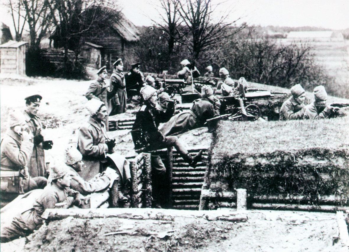 Первая Мировая война. Русские солдаты в окопе