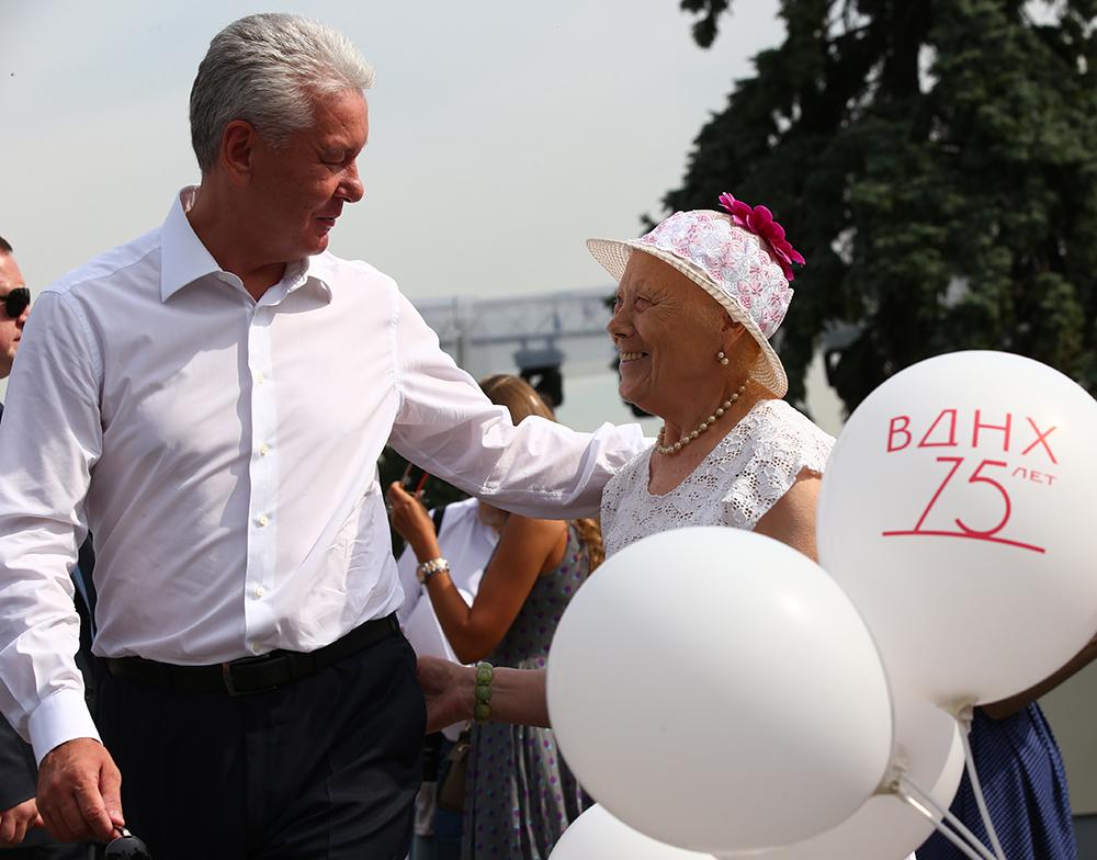 Мэр Москвы Сергей Собянин во время мероприятий, посвященных 75-летию ВДНХ