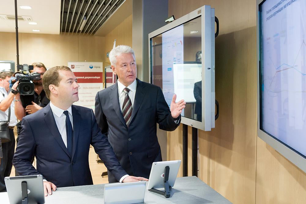 Премьер-министр Дмитрий Медведев и мэр Москвы Сергей Собянин