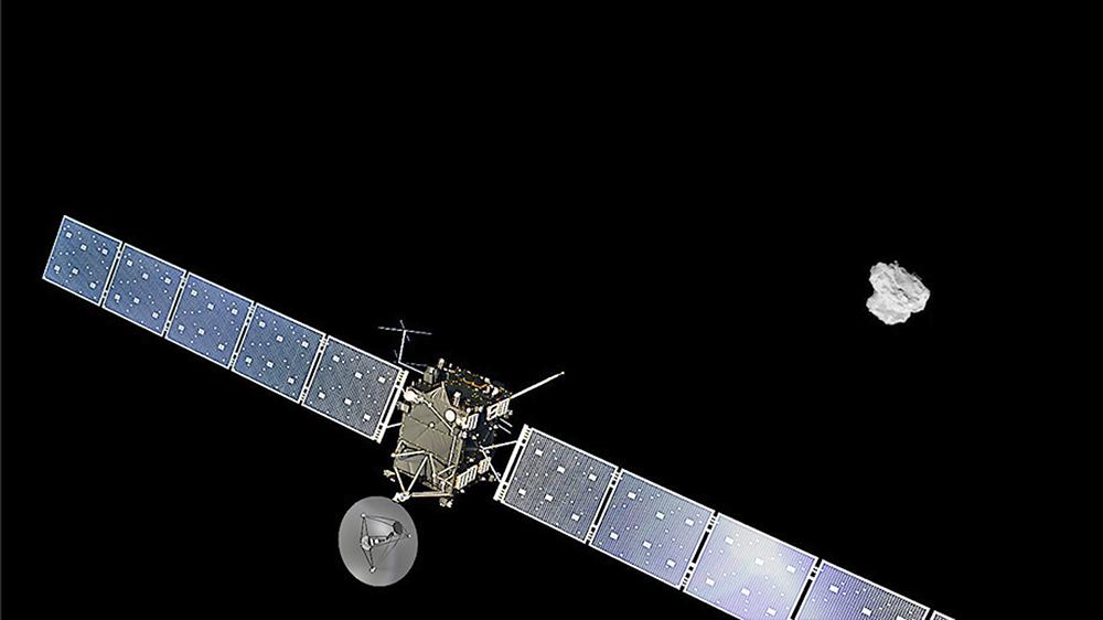 Космический аппарат Rosetta возле кометы Чурюмова-Герасименко