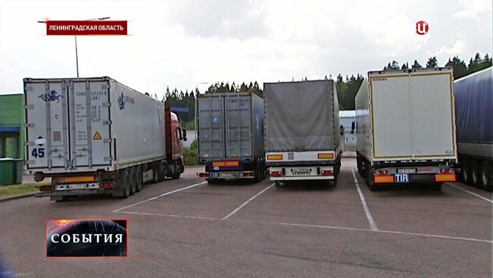 Фуры на таможенном пункте в Ленинградской области