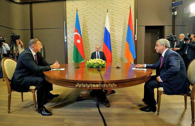Встреча президента России Владимира Путина с президентом Армении Сержем Саргсяном и президентом Азербайджана Ильхамом Алиевым