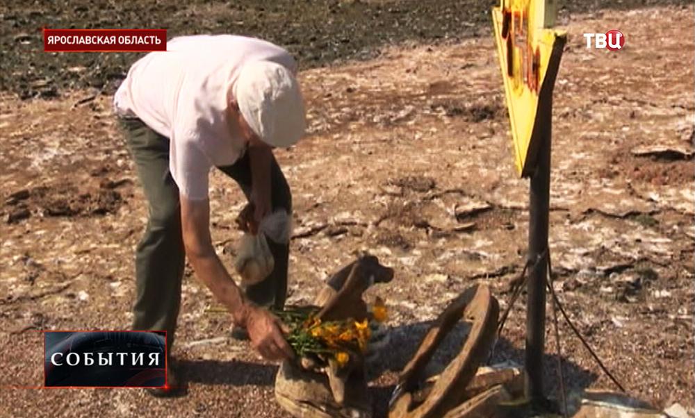 Бывший горожанин Младоги возлагает цветы