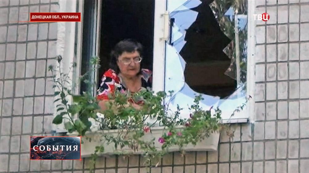 Жители Донецкой области после обстрела