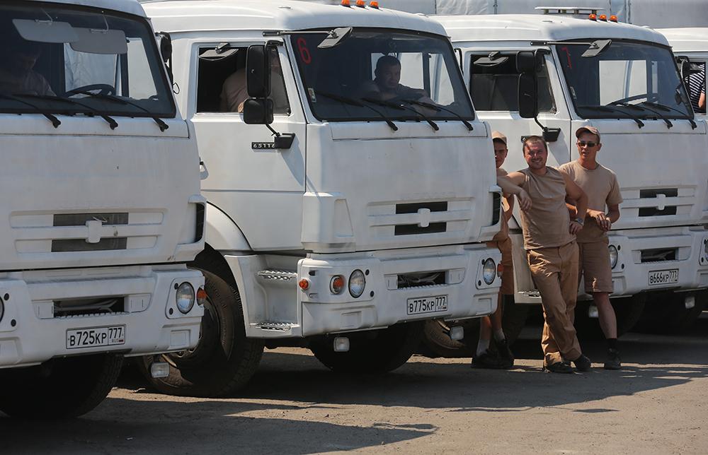 Колонна автомобилей с гуманитарной помощью для жителей юго-востока Украины