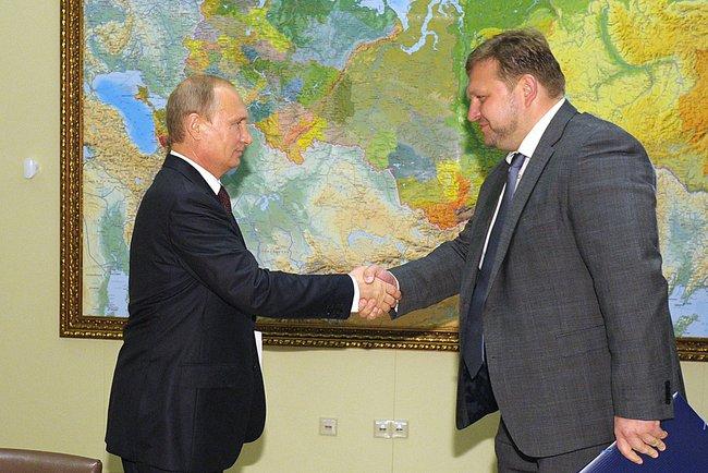 Президент России Владимир Путин и временно исполняющим обязанности губернатора Кировской области Никитой Белых