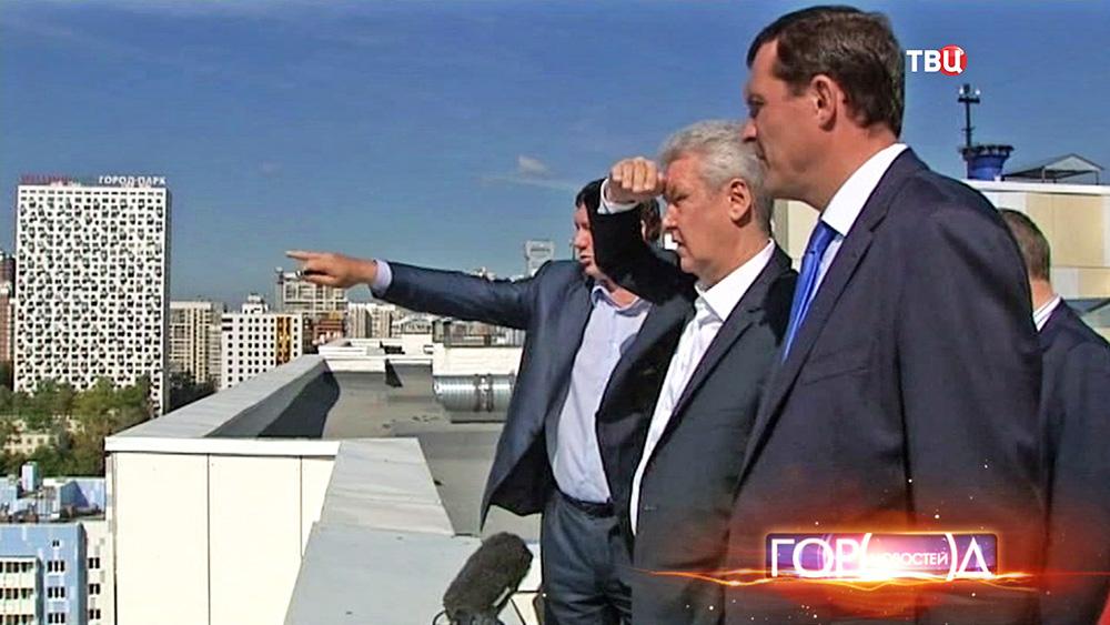 Сергей Собянин осматривает новый микрорайон
