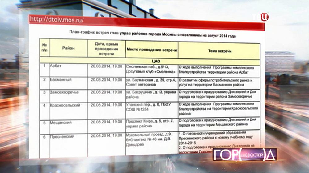 График встреч глав управ районов города Москвы