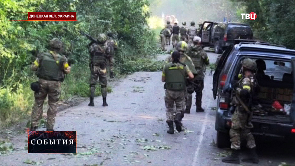 Карательный батальон Нацгвардии Украины ведет бой в Донецкой области