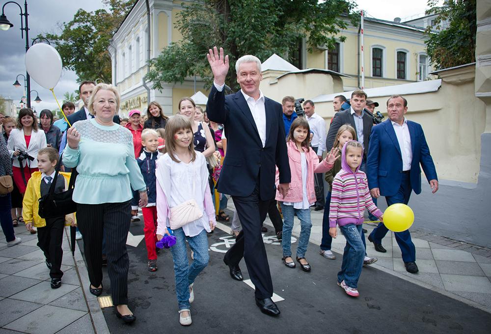 Сергей Собянин на открытии пешеходной зоны на Пятницкой улице