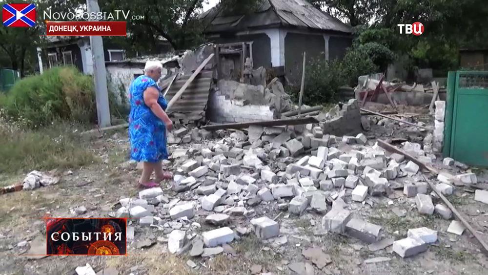 Последствия артобстрела жилых кварталов Донецка