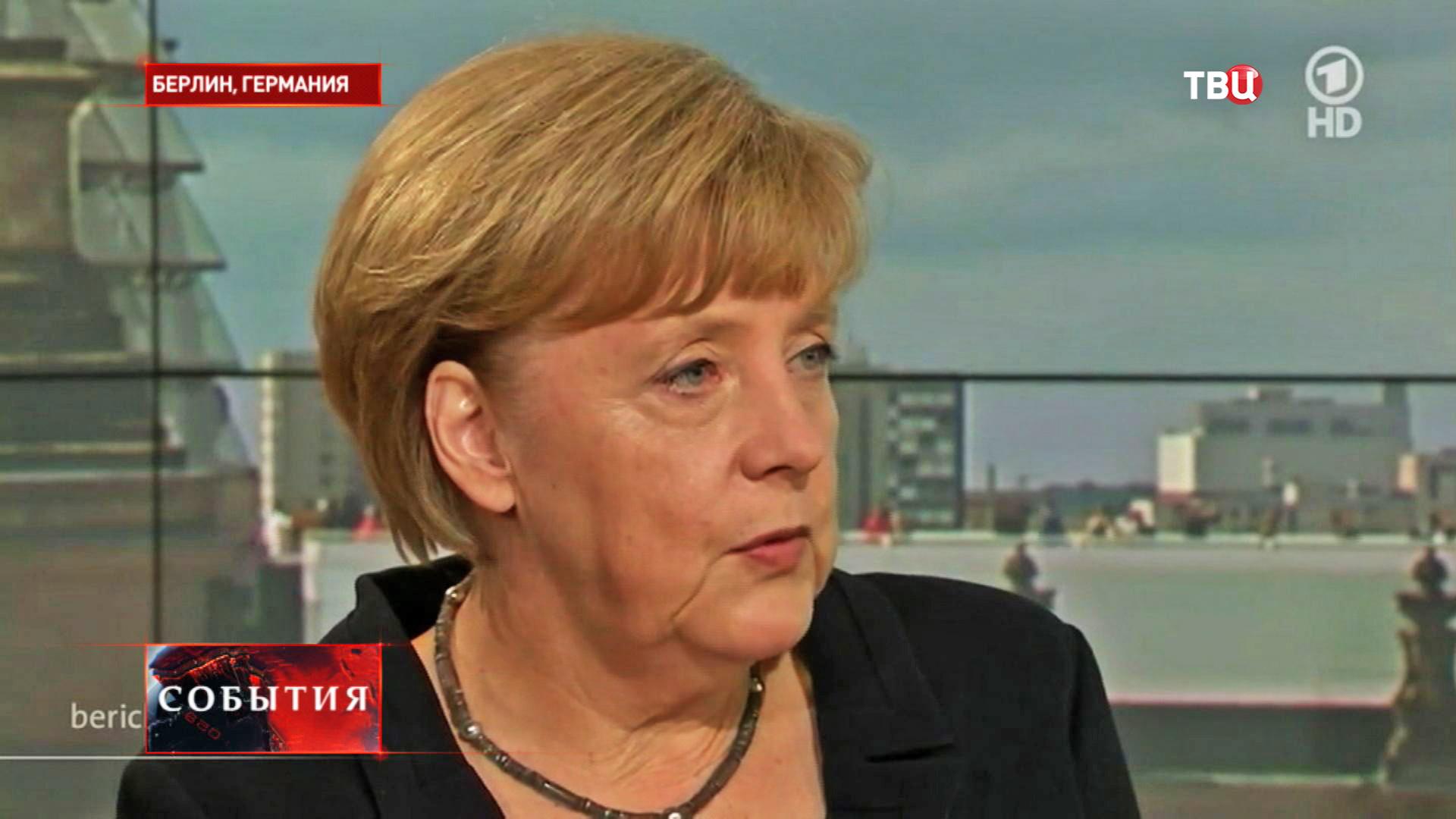 Канцлер Германии Ангела Меркель во время интервью телеканалу ARD