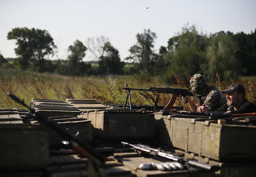 Бойцы подразделения народного ополчения Донбасса