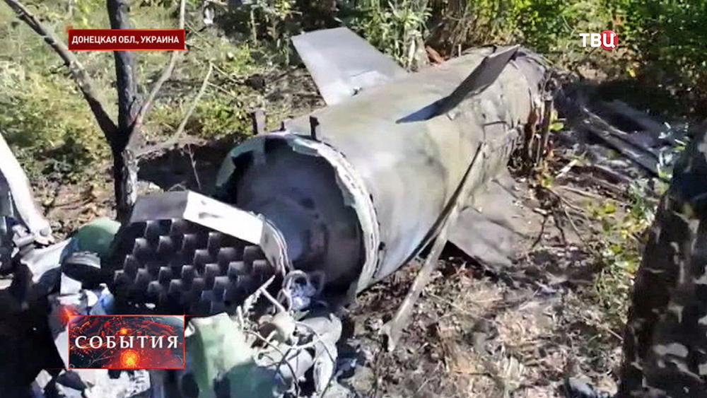 Обломки баллистической ракеты в Донецкой области