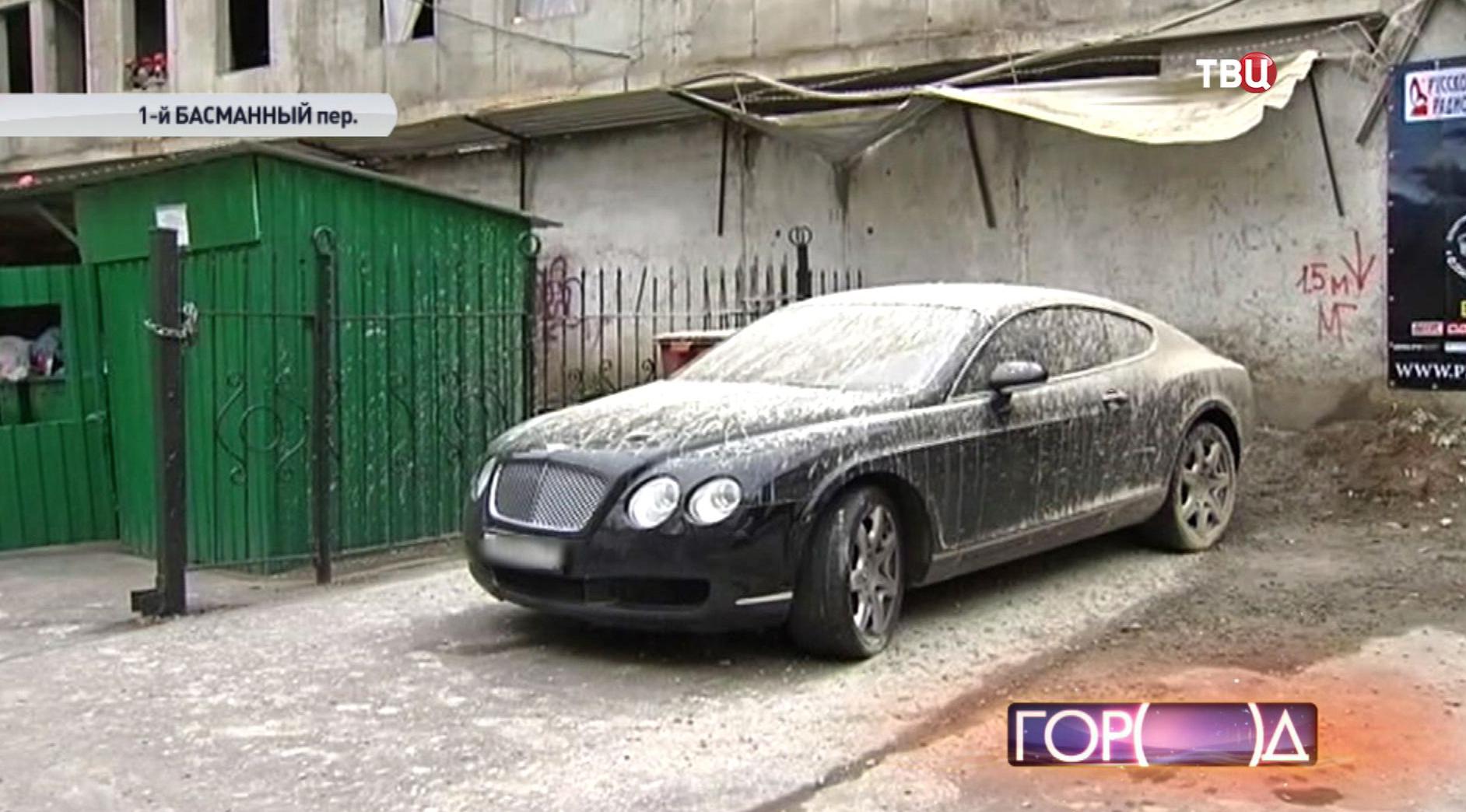 Автомобиль Bentley облитый бетоном