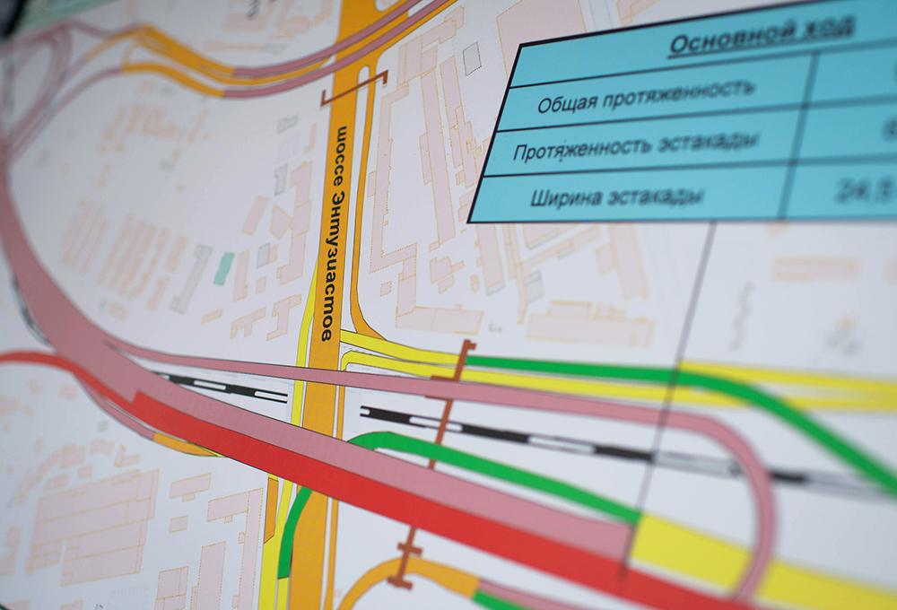Карта дорожной развязки на шоссе Энтузиастов