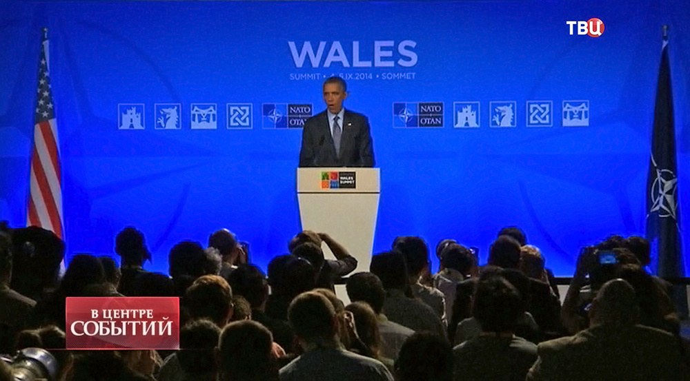 Президент США Барак Обама выступает на саммите НАТО
