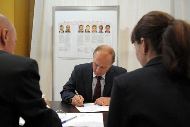 Владимир Путин досрочно проголосовал на выборах в Мосгордуму