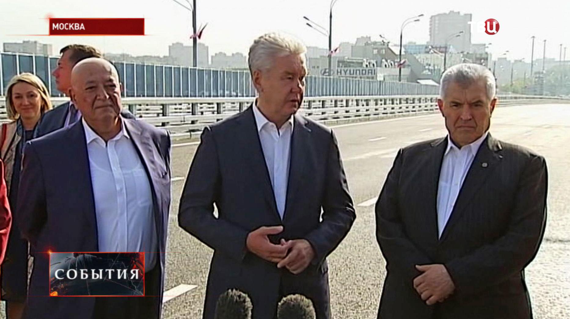 Сергей Собянин на новой развязке на Новорязанском шоссе