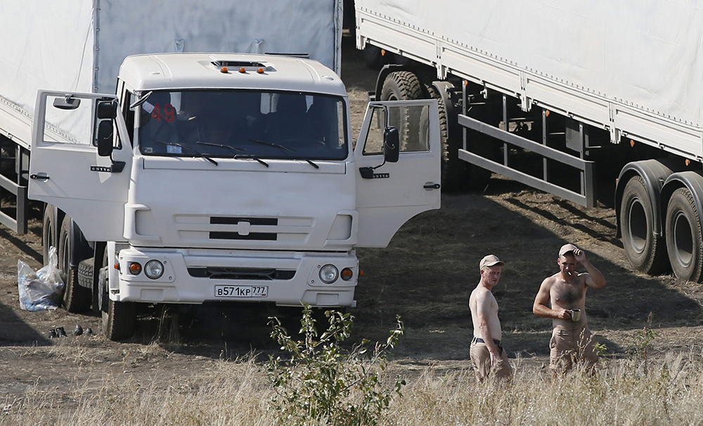 Автоколонна с гуманитарной помощью для жителей юго-востока Украины