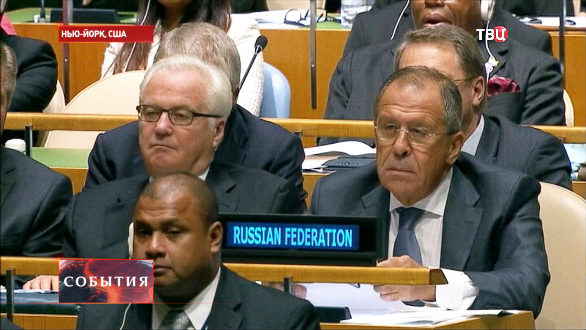 Сергей Лавров и Виталий Чуркин во время заседания ООН