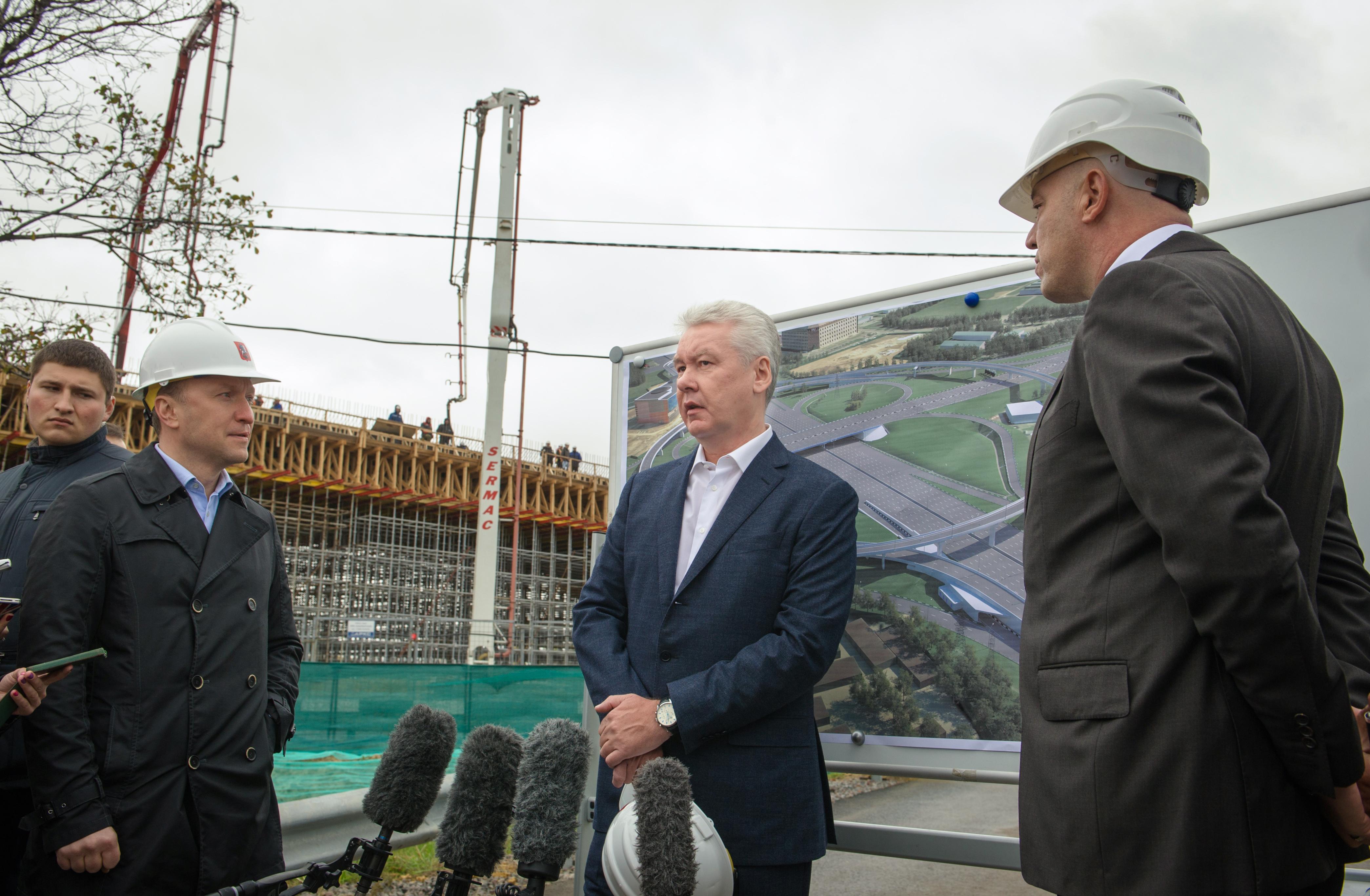 Сергей Собянин на реконструкции развязки Каширского шоссе